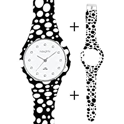 Naughty Watch Uhr Damen–Silikon Swarovski-Kristalle + 2Armbänder gepunktet.