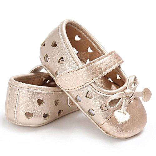 Babyschuhe, Switchali Baby schuhe mädchen Bowknot-lederner Schuh-Turnschuh Anti-Rutsch weiches Solekleinkind für 0-18 Monate Gold