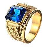 PMTIER Hombres Acero Inoxidable Dragón Patrón Sencillo Cuadrado Piedra Preciosa Anillos Band Oro, Azul Tamaño 25