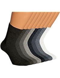 Vitasox Damen Wellness Socken Baumwolle mit Frotteesohle einfarbig Damensocken schwarz weiss silber jeans ohne Gummi 6er Pack