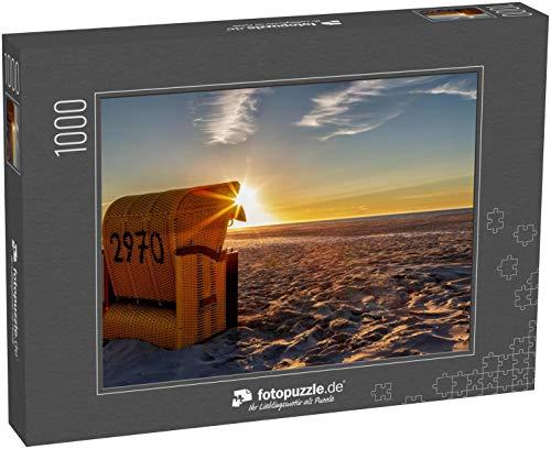 fotopuzzle.de Puzzle 1000 Teile Strandkorb auf der ostfriesischen Insel Juist in der Nordsee, Deutschland, im Abendlicht vor Sonnenuntergang (1000, 200 oder 2000 Teile)
