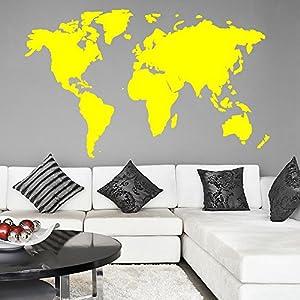 El mapa del mundo pared de vinilo pegatinas Arte del cartel fácil de la cáscara y del palillo de la pared – Decoración
