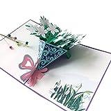 Kunst- und Bastelbedarf- Blumenstrauß 3D Pop-up-Grußkarte für alle Gelegenheiten - Muttertag-Karte Frühling Garten-Jubiläum-Karte (Farbe : Gardenia flower)