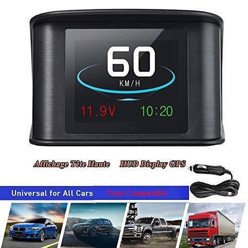 2.6' HUD GPS Vision Tête Haute Afficheur Tête Haute Intelligent Numérique LCD Compteur Conduite Vitesse Tension Unique Distance Conduite Distance Totale Temps de Conduite Alarme de Vitesse