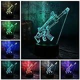 Nachtlicht 3D Lampe Neuheit Cool Battle Game Scar-L Rifle Night Light für Schreibtisch Rgb 7 Color Boys Kids Toy Home Decor Weihnachtsgeschenk Lxkem