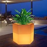 Augrous LED Standleuchten 16 Farbe Ändern Blumentopf Lampe mit Fernbedienung Draussen Wasserdicht Wiederaufladbar Hexagon Garten Dekoration Licht