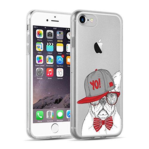 Cover iPhone 8 Cover iPhone 7, JAMMYLIZARD [Sketch] Custodia in Silicone Trasparente Semi Morbido Ultra Slim con Disegno per Apple iPhone 8 e Apple iPhone 7, ALICE SILHOUETTE CARLINO YO!