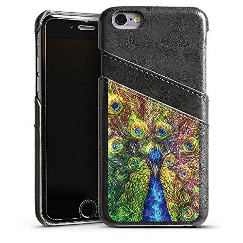 Apple iPhone 5 Housse Étui Silicone Coque Protection Paon Oiseau Animaux Étui en cuir gris