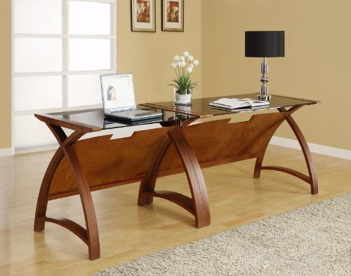 Great Buy for Jual Helsinki Compact Walnut and Glass Desk on Line