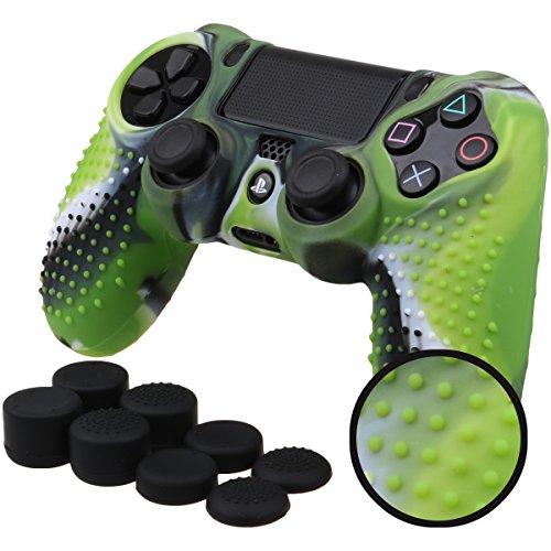 Pandaren® STUDDED Silikon Hülle Anti-Rutsch für PS4 controller x 1 (Tarnung grün) + FPS PRO thumb grips aufsätze x 8 Assassin Creed Haut