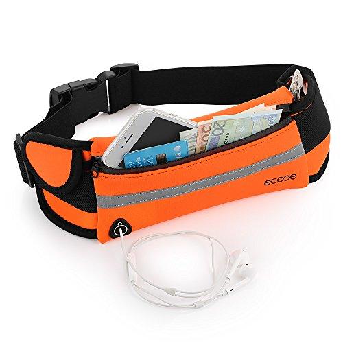Ecooe Sport Hüfttasche Wasserdicht Gürteltasche mit Verstellbarer Gürtel Reflektorstreifen Kopfhöreröffnung für Handy bis 5.5Zoll - für Reise und Sport entwickelt, Apfelsine