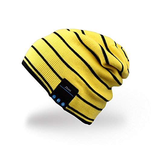 Rotibox Bluetooth Hat Trendy Warm Soft Knit Slouchy Music Beanie Skully Cap with Wireless Bluetooth Headphone Headset Earphone Hands-free Phone Call for Winter Sports Fitness Casual Activities - Yellow