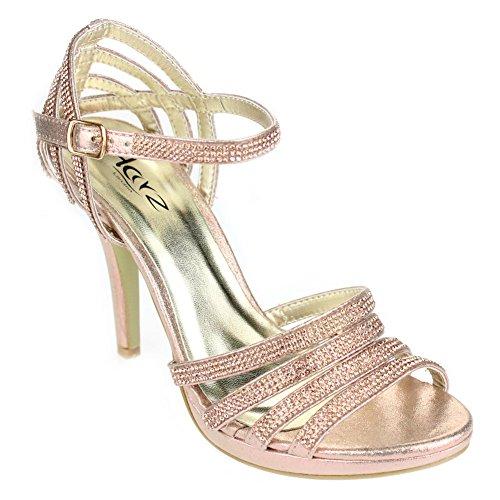 Aarz donne di sera del partito di promenade di nozze signore alto tacco Diamante nuziale del sandalo calza il formato (Oro, Argento, Nero, Champagne, Rosso)