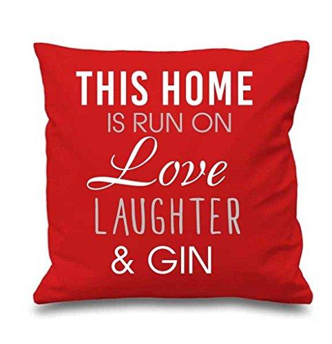 Rouge Housse de coussin cette maison est Exécuté par Amour rire et Gin 40,6 x 40,6 cm Maman ami Cadeau Coussin décoratif Maison