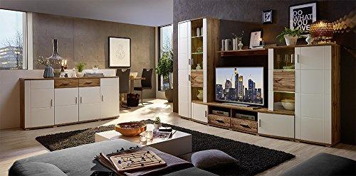 Wohnzimmerschrank, Wohnwand, Schrankwand, Anbauwand, Fernsehwand, Wohnzimmerschrankwand, Wohnschrank, weiß, Matt, Eiche-Nb., Beleuchtung - 3