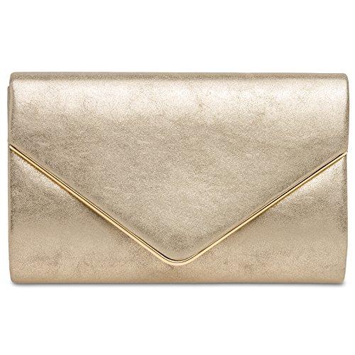 legante Envelope Clutch Tasche/Abendtasche mit langer Kette, Farbe:gold;Größe:One Size ()
