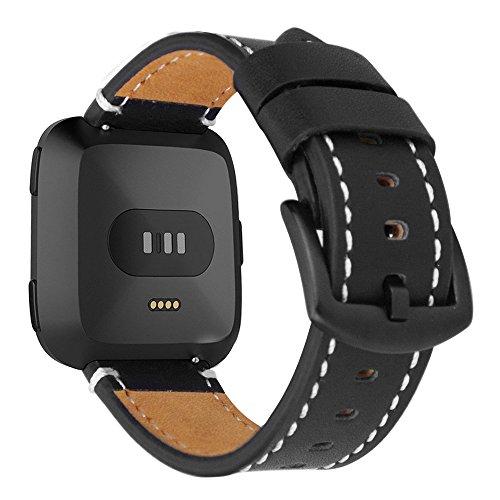 iBazal Armbänder Kompatibel mit Fitbit Versa/Lite Armband Leder Uhrenarmband Lederarmband Uhrarmband Ersatzarmband Watchband Ersatzband Lederband Herren Damen Uhr Zubehör - Schwarz - Große