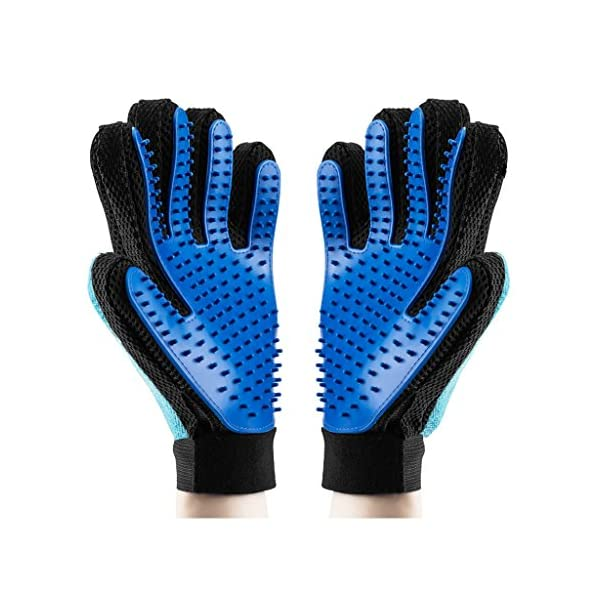 OMorc Dog grooming glove, 1 Pair Grooming Tool + Furniture Pet Hair Remover Brush - Massage Tool with Enhanced Five Finger Design - Pet Grooming Glove For Dogs, Cats, Horses- Long & Short Fur 1