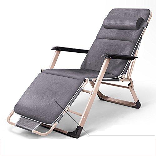 LHA Lit Pliant Inclinable Pliant Déjeuner Lit Siesta Chaise Bureau Lit Simple Simple Plage Lit Camp Lit (Couleur : Gray)