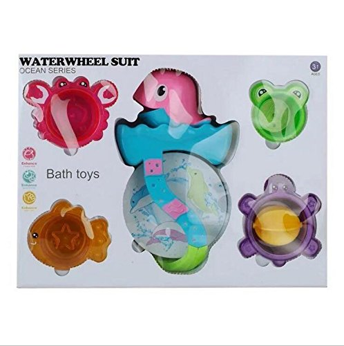 YIXIN Dolphin Waterwheel Stack Toy Bath toy with Stacking Cups Suction Cup for Baby Early Learning,Color Random Delivery