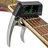 ACMEDE Capotasto con LCD accordatore tuner per chitarra e basso, Argento