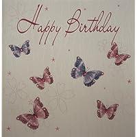 White Cotton Cards - Tarjeta de felicitación de cumpleaños (tamaño extragrande), diseño de mariposas