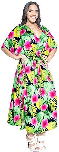La Leela tous les hibiscus tropical dames beachwear bikini couvrir casual robe de soirée plus pansement nuisette loungewear soirée profonde long cou lâche kimono drastring robe maxi caftan Rose Fuchsia