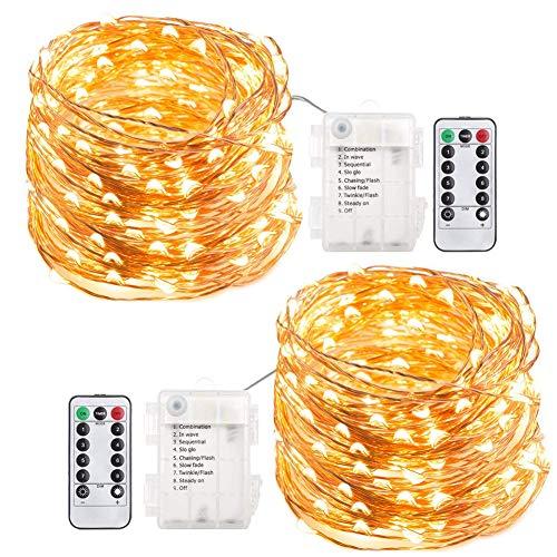 200 LED Lichterkette Batterie, ECOWHO 8 Modi IP65 Wasserdicht LED Kupferdraht Lichterkette, Sternen Lichterketten mit Fernbedienung & Timer, Lichterkette für Zimmer,Weihnachten,Garten,Party ( 2 Pack)