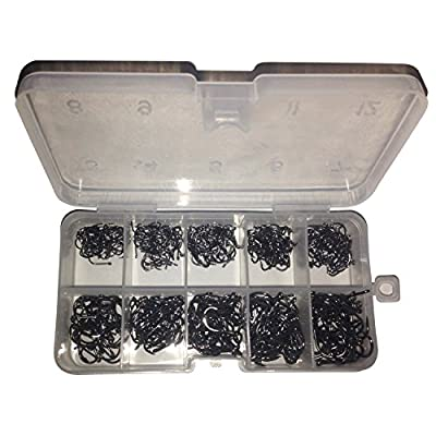 500 Pcs Black Silver Mixed Fishing Hooks with Storage Box (OD0014) from Groupcow