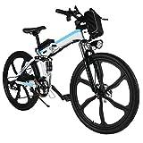 AMDirect Bicicletta da Montagna Elettrica Pieghevole con Ruote di 26 Pollici Batteria Litio di Grande capacità 36V 250W Sospensione Completa Premium e Cambio Shimano (Type2 Bianco)