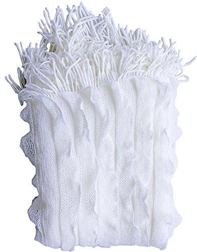 Enjoy Home p024bc125150Plaid facrylique mit Fransen, Acryl, Weiß, 150x 125cm -