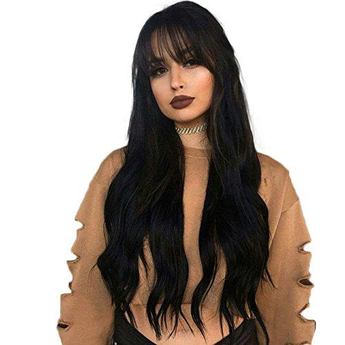 Moresoo 20 Zoll Front Lace Human Hair Wig 130% Dichte Wig with Fringe Human Hair Perücke Bresilienne Hair Aus Schwarz #1B Natural Wigs 100% Human Hair