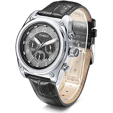 Time100 Orologio al quarzo in Acciaio Cronografo Pelle di Vitello Uomo#W70112G.02A - Display Militare Caso