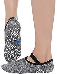 Meshen anti-dérapant Chaussettes de Yoga avec des Granules de Massage Antidérapants pour les femmes, Ballet, Pilates chaussettes, hospitalisation, voyage, usage domestique