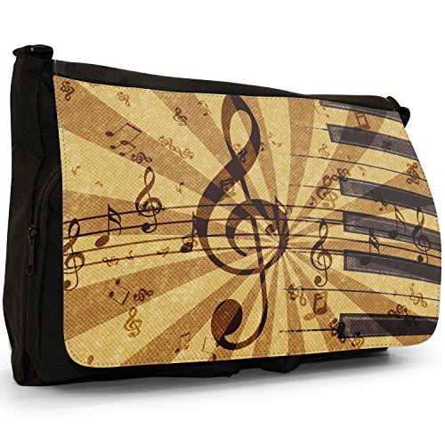 Grunge Musik Harmonie Noten Große Messenger- / Laptop- / Schultasche Schultertasche aus schwarzem Canvas