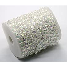 Ewparts 30M cristal garland diamant acrylique perles perles chaîne perles chandlier, pour brins suspendu rideau drop décoration de la maison (Colored)