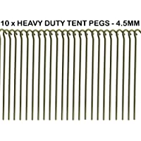 """10 x HEAVY DUTY 9"""" TENT PEGS - 23CM x 4.5MM - MADE FROM GALVANISED STEEL - CURVED HOOK ON TOP - GREAT FOR SECURING TENTS / AWNINGS / GOAL NETS / POND NETTING"""