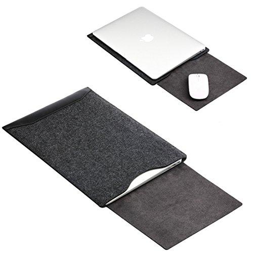 GENORTH Filz Sleeve Hülle Ultrabook Laptop Tasche für MacBook Air & MacBook Pro 13,3 Zoll, MacBook Pro Retina 13 Zoll Hülle mit Geschütztes Inneres und Externes Mousepad (Schwarz) (Laptop-tisch Ultrabook)