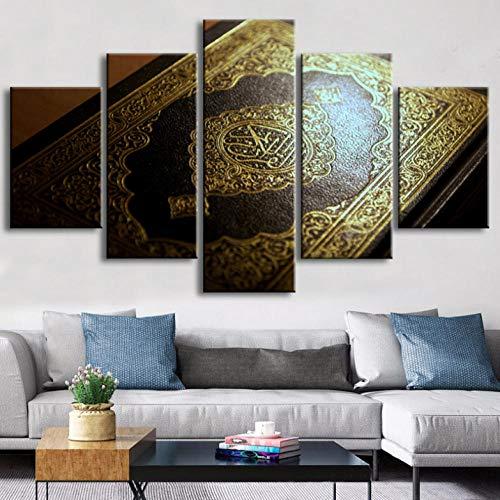 Wieoc Leinwanddrucke Islamische Wandkunst 5 Stücke Leinwand Kunst Islam Kalligraphie Koran Leinwand Gemälde Buch Poster Wandbilder Wohnzimmer Dekor Rahmen-200X100Cm