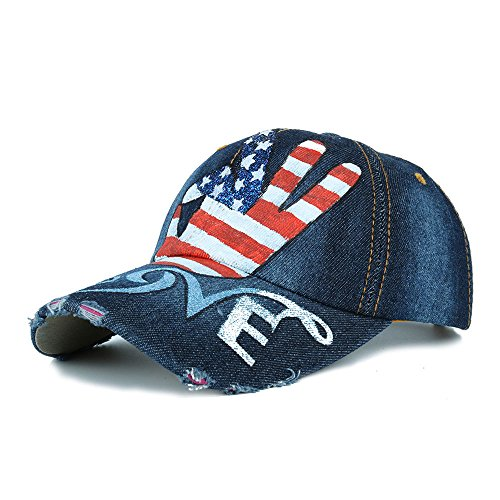 Women's Classic Vintage USA American Flag Hand Printing Washed Denim Baseball Cap Adjustable Low Profile Dad Hat