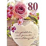 Geburtstagskarte - Zahl 80 Frau