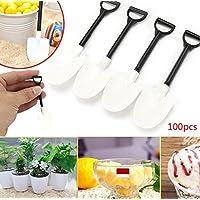 Kicode 100pcs / bolsa desechables de plástico Mini Pala cuchara Maceta Ice Cream Cake Jardín adminículo