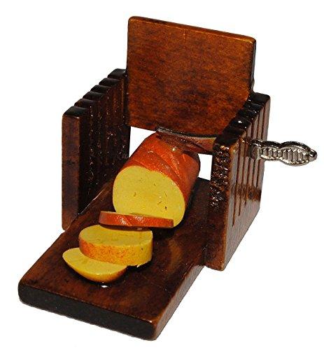 Messer / Brotschneider mit Brot Weißbrot - Miniatur aus Holz / Maßstab 1:12 - Lebensmittel Zubehör Küche Puppenstube / Puppenhaus - Brotmesser Brotschneidemaschiene manuell nostalgisch
