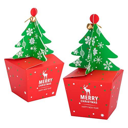 Vidillo scatole regalo natale 20 pcs con 20 pcs bow e 20 pcs campane, confezioni regalo dolcetti, biscotti, dolci, caramelle e saponi fatti in casa scatole regalo per decorative per il natale