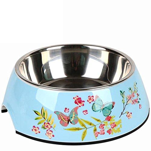 Pet harem- Anti-Rutsch-Edelstahl Hund Schüssel Hund Schüssel Haustier liefert Teddy Essen Aufkleber Hund Schüssel ( Farbe : Blue background butterfly , größe : L )