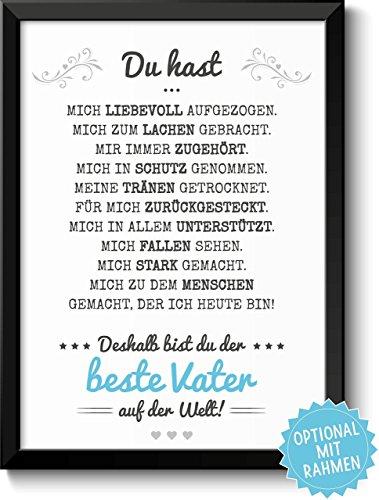 Bester Vater - Bild mit liebevoller Danksagung optional mit Rahmen - Geschenkidee Geburtstag Hochzeitstag Vatertag