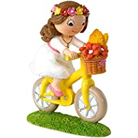 Mopec Figura de Pastel de Niña en Bicicleta, Poliresina, Blanco, 4.5x13.