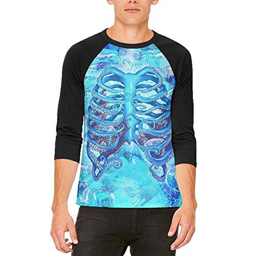 aken Skelett Rippen Kostüm Herren Raglan T Shirt weiß-schwarz SM (Oktopus Halloween-kostüm)