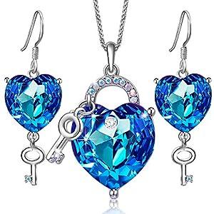 SONGPANNA Damen Schlüssel herzkette Ohrringe Schmuck Set Blau Österreich Kristall Ohrstecker Anhänger Halskette Mit Kette Schönes Geschenk Für Fraun & Mädchen Geschenk der Liebe