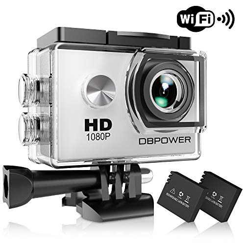 Dbpower® action camera impermeabile 1080p hd 12mp kit 2 batterie ed accessoristica varia (bianco)